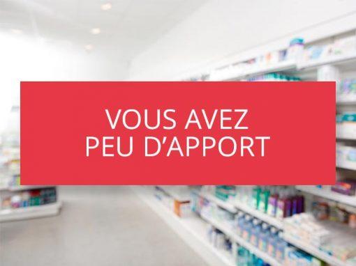 Vous avez peu d'apport pour l'achat de votre pharmacie
